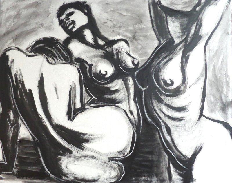 original figurative acrylics painting on canvas , black acrylic