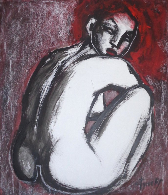 original figurative acrylics painting on paper, charcoal, red and black acrylic