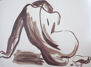 original figurative sienna and white inks on white  paper.