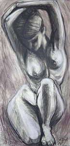 original figurative charcoal drawing on  paper.