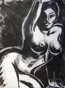original figurative black and white inks on grey paper.