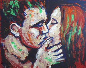 original black and red acrylics painting on canvas, kissing couple in love