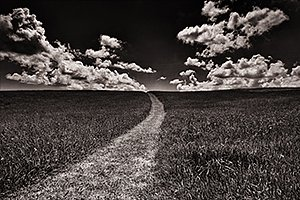 Wyoming clouds and path