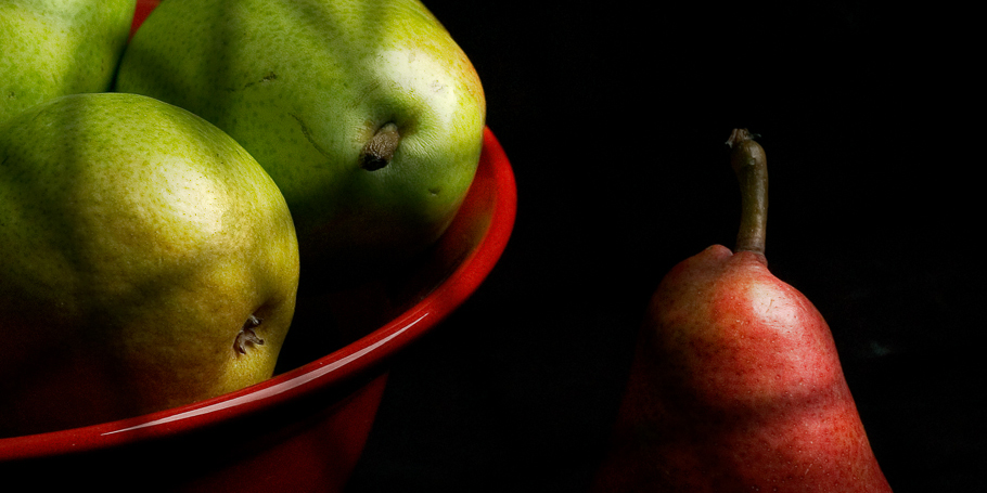 Pears and Red Bowl