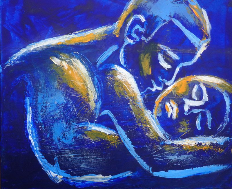 original figurative acrylics painting on canvas, embraced couple in love,