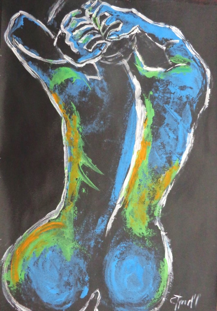 original figurative acrylics painting on paper, image from the rear of a female nude torso.