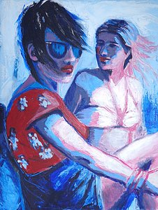 original, figurative acrylics painting of 2 girlson canvas