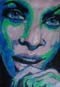 original, figurative acrylics painting on paper