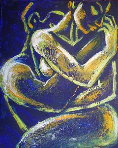 original acrylics painting on canvas, embraced couple in love