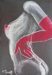 original figurative pastel drawing on black paper
