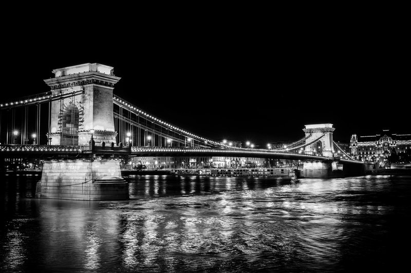 A night shot of the historic Chain Bridge in Budapest, Hungary