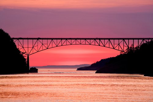 Deception Pass Bridge at sunset Whidbey Island