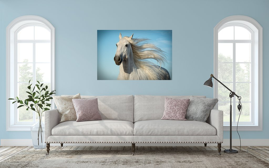 White Horse fine art print over couch