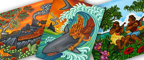 Dietrich Varez color art oil paintings - Hawaiian legend myth and culture