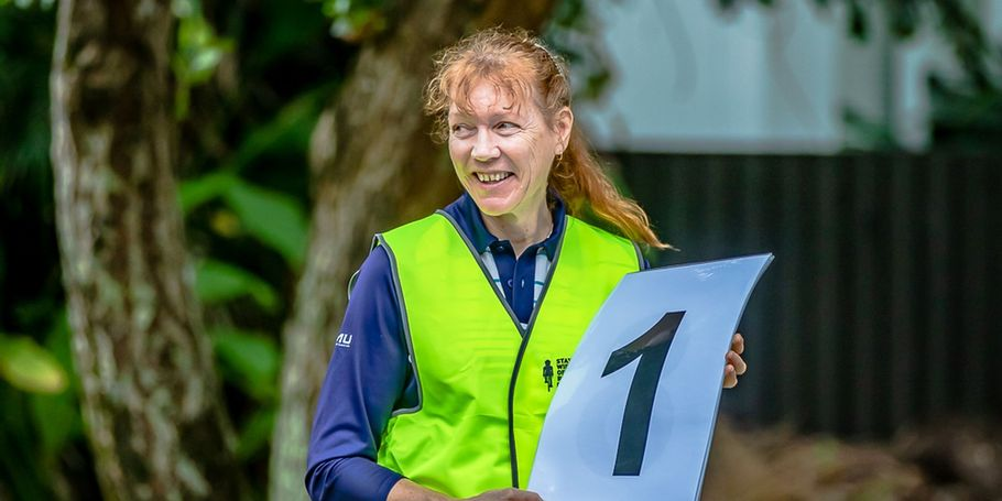 Lap marshal volunteer Alison Kirkwood