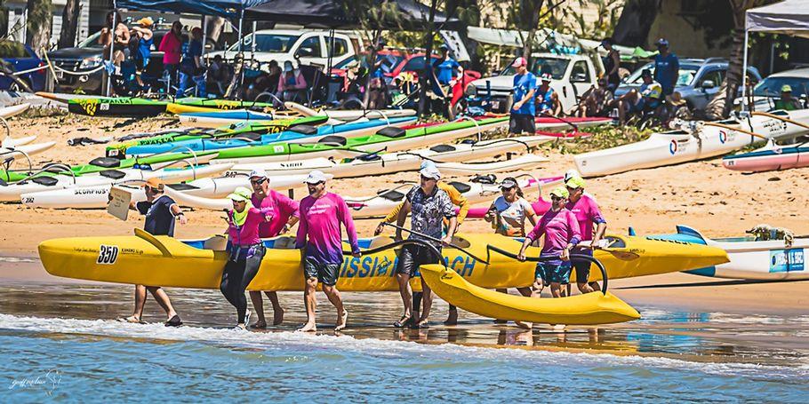 Port Douglas crew (AKA the odd bod's) launching their canoe