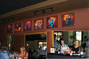 The Midnight Show is always on at Spaghettini Grill and Jazz Club.  A collection of music inspired art is on permanent exhibit in the jazz club.  You will also find a seven foot long painting of the bar, hanging in the bar.  If you will be in the Orange County area, drop by for a Sunday brunch, Fine Dining or check out the live music while enjoying The Midnight Show.