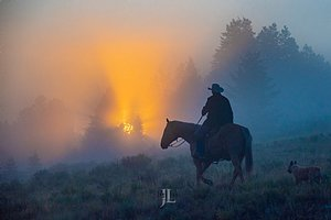 Wyoming Cowboy at sunrise