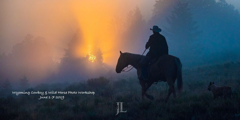 Cowboy and Dog at sunrise