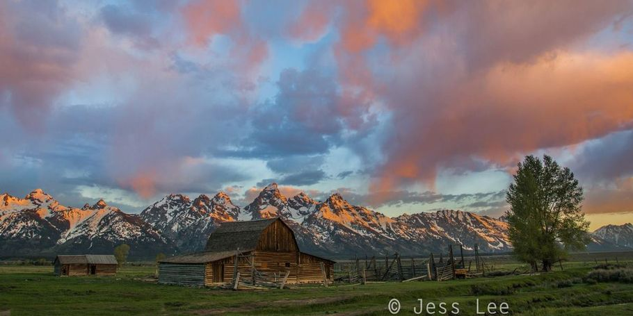 Sunrise grand teton barn
