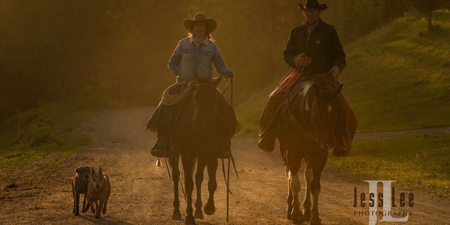Wyoming Cowboy and Cowgirl sunrise