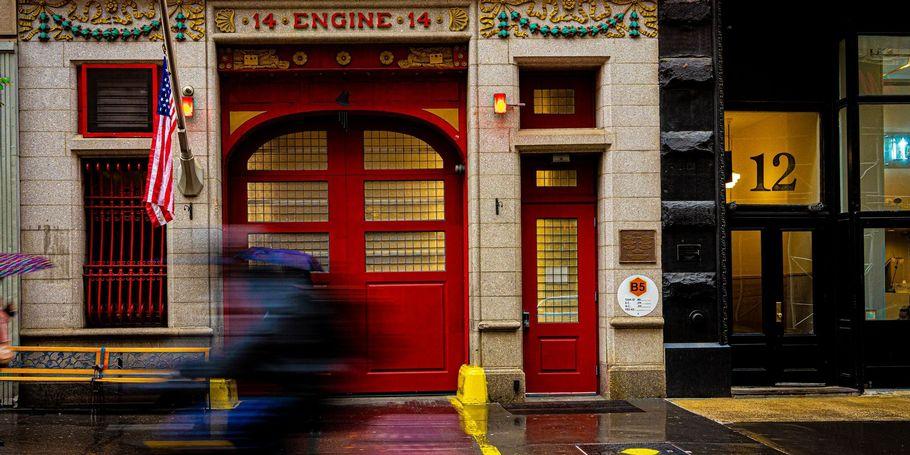 Engine 14 Door with Cyclist