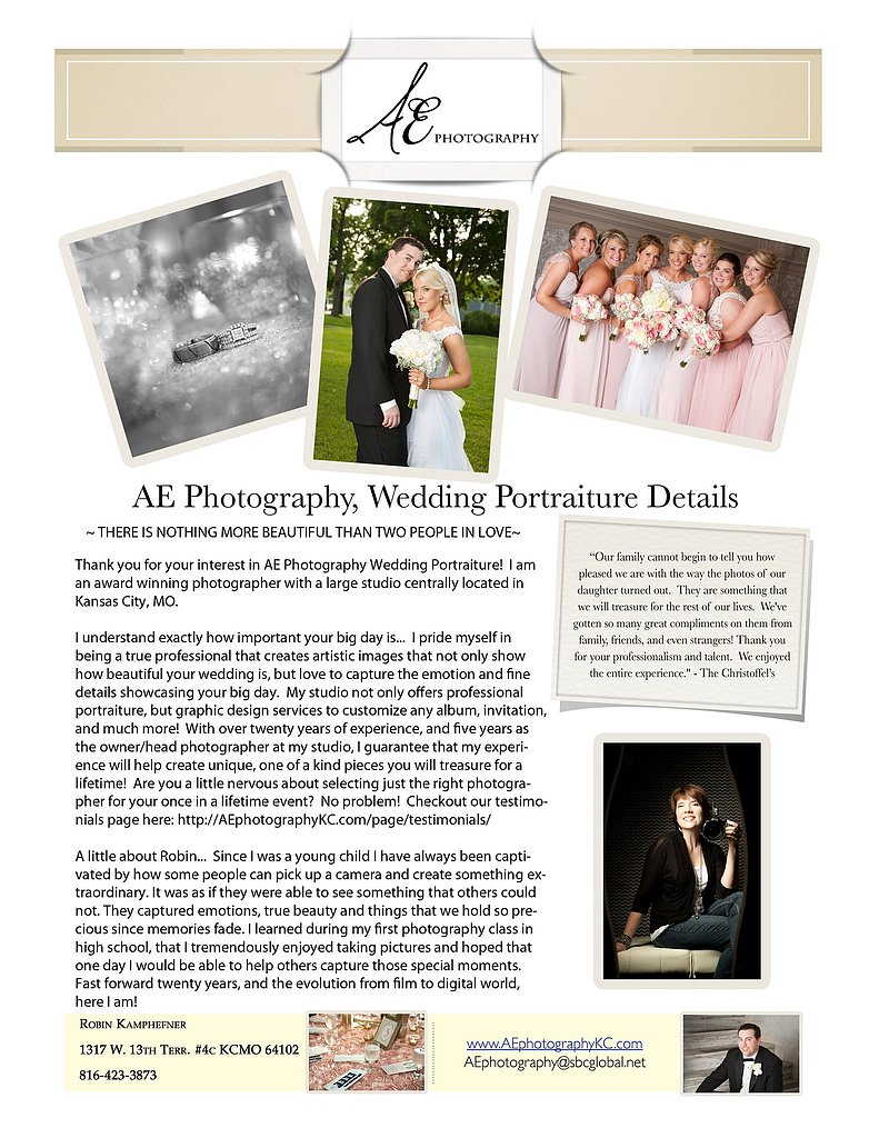 Kansas City Wedding Pricing Information AE Photography