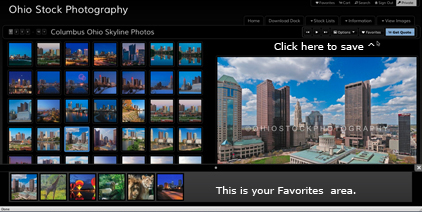 Illustration of how to save your Favorite photos on the Ohio Stock Photography website.