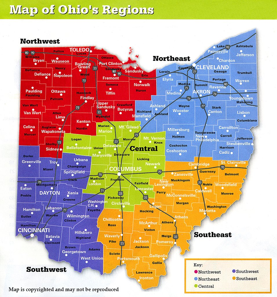 Lucas Ohio Map.Map Showing Ohio Regions Ohio Stock Photography Columbus Ohio