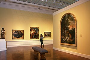 Dayton Art Institute gallery with yellow walls, paintings, a sculpture and a girl looking at paintings. Horizontal photo by Ohio Stock Photography 5V30
