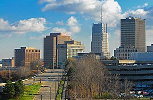 Akron Ohio downtown buildings with cars on freeway. Horizontal photo by Ohio Stock Photography D1U1