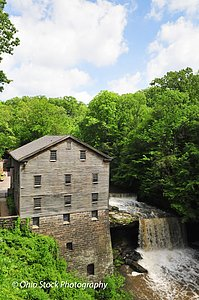 Lantermans Mill and waterfall surrounded by trees photo by Ohio Stock Photography D9E9