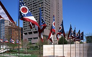 Ohio Flags flying above the Ohio Veterans Plaza photo by Ohio Stock Photography