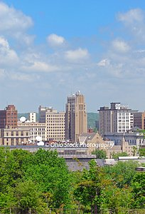 Youngstown Ohio Skyline with trees in front photo by Ohio Stock Photography D39U3