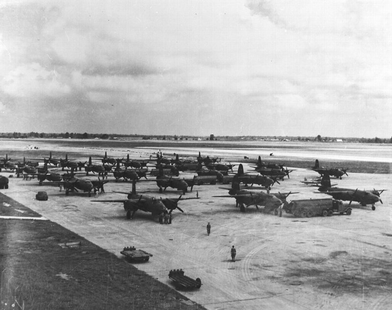 Martin B-26's of the 34th Bomb Sqd., 17th Bomb Group on the runway at an airfield somewhere in the Mediterranean area.